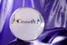 'Growth' in Your Future!. A crystal ball predicting growth in your business or investments Royalty Free Stock Photo