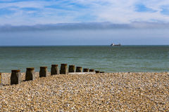 Groyne和海滩 库存图片