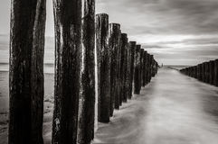 Groyne. A black & white pictere of a groyne Royalty Free Stock Photography