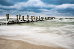 Groyne on the Baltic Sea coast in Zingst Stock Photography