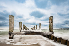 Groyne on the Baltic Sea coast in Zingst Stock Image