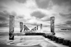 Groyne on the Baltic Sea coast in Zingst, Germany Royalty Free Stock Image