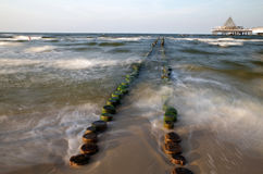 Groyne at the baltic sea in heringsdorf in germany Stock Photo