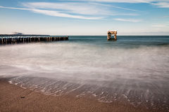 Groyne and jetty ruin Royalty Free Stock Photo