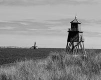 Groyne Lighthouse Black/White. Royalty Free Stock Photo