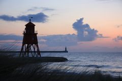 Groyne Lighthouse & Grasses Stock Images