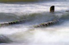 Groyne przy morzem bałtyckim Obraz Stock