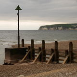 Groyne at Seaton. Large groyne at Seaton, South Devon, England Royalty Free Stock Photos