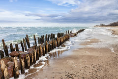 Groyne on shore Stock Photos