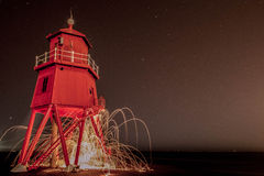 The Groyne in South Shields. Wire wool experiment makes it looks like its taken off royalty free stock images