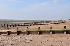 Groynes auf dem Strand Stockfotos