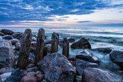 Groynes on the Baltic Sea Royalty Free Stock Photos
