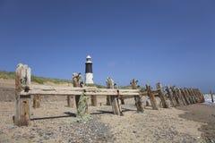 Groynes do farol e da praia Imagem de Stock Royalty Free