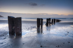 Groynes at first Light Royalty Free Stock Images