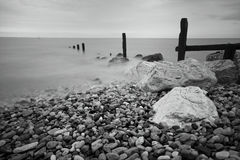 Groynes and Rocks Seascape Stock Photography