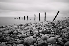 Groynes and Rocks Seascape Royalty Free Stock Photos