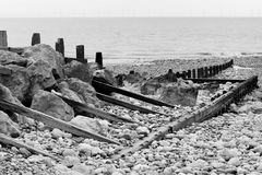 Groynes and Rocks Seascape Royalty Free Stock Image