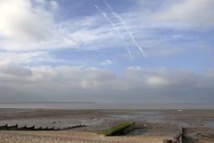 Groynes on  shingle beach at whitstable kent Stock Photography