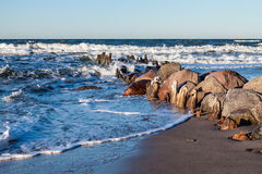 Groynes on shore Royalty Free Stock Photography