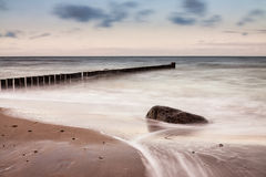 Groynes on shore of the Baltic Sea Stock Photos