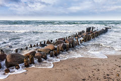 Groynes on shore of the Baltic Sea Stock Image