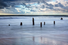 Groynes on shore of the Baltic Sea Royalty Free Stock Images
