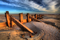 Groynes at Spurn Point Royalty Free Stock Images