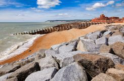 Groynes and breakwater at Eastbourne seacoast Sussex South East stock photo