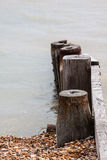 Groynes. View of the beach at Kingsdown looking out over the English Channel UK on a stormy day. Calm before the storm Royalty Free Stock Photos