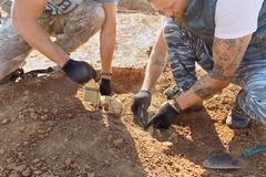 Groznii, Chechen Republic, Russia - Oct. 2018: Archaeological excavations. Two archaeologists with tools conducting research on hu. Man bones on the ground tomb royalty free stock photo