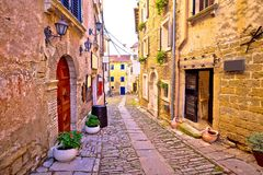 Groznjan cobbled street and old architecture view. Istria region of Croatia royalty free stock photography