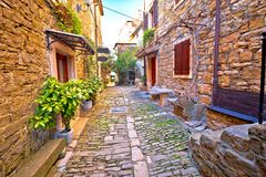 Groznjan cobbled street and old architecture view Royalty Free Stock Image