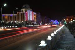 Grozny Putin aveny på natten Fotografering för Bildbyråer