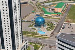 Aerial view of Grozny city. Restaurant Globus. GROZNY, RUSSIA - APRIL 24: Aerial view of Grozny city. Restaurant Globus on April 24, 2016 in Grozny Stock Photo