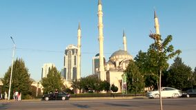 The Mosque of Akhmad Kadyrov, the City of Grozny, the Capital of the Chechen Republic of the Russian Federation. GROZNY, RUSSIA - JUNY 24, 2018: The Mosque of stock footage