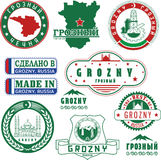 Grozny, Russia. Set of stamps and signs Stock Photo