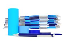 Grpah, pen, Stacks of books Royalty Free Stock Photography