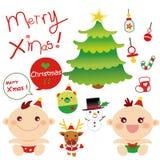 grpahic婴孩的圣诞节 库存例证