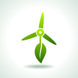 Grpx_1024wind turbines with leaf save environment Stock Photo