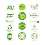 Gräsplan Logo Collection för uppsättning för symbol för Eco vänlig organisk naturproduktrengöringsduk Arkivbilder