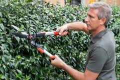 Gärtner-Cutting Hedge With-Schere Lizenzfreie Stockfotografie
