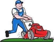 Gärtner-Mowing Lawn Mower-Karikatur Lizenzfreie Stockbilder