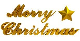 Gruß der frohen Weihnachten, goldene Buchstaben 3d und Stern auf Weiß Lizenzfreies Stockfoto