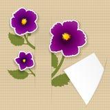 Gruß der Papierkarte mit Blume und Papier Lizenzfreie Abbildung