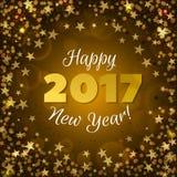 Gruß des gelben Hintergrundes des neuen Jahres 2017 Lizenzfreie Stockbilder