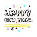 Gruß des glücklichen neuen Jahres Schwarze typografische Vektor-Kunst Lizenzfreies Stockfoto
