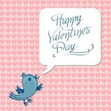 Gruß des glücklichen Valentinstags mit blauem Vogel Stockbild