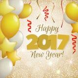 Gruß des goldenen Hintergrundes des neuen Jahres 2017 Lizenzfreies Stockfoto