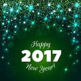 Gruß des grünen Hintergrundes des neuen Jahres 2017 Lizenzfreie Stockbilder