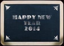 Gruß 2014 des neuen Jahres auf einer Tafel Lizenzfreies Stockbild